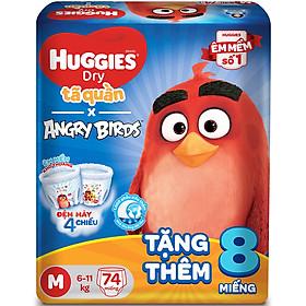 Tã Quần Huggies Dry Gói Cực Đại Angry Birds Phiên Bản Giới Hạn M74 (74 Miếng) - Tặng 8 Miếng