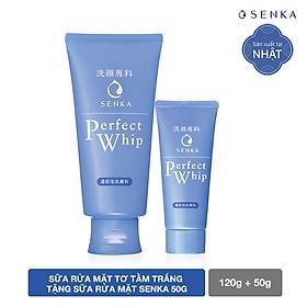 Sữa rửa mặt sạch hoàn hảo ẩm mịn tự nhiên với bọt tơ tằm trắng Senka Perfect Whip 120g số 1 Nhật Bản tặng sữa rửa mặt Senka 50g