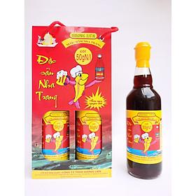 Hộp 2 chai 50 đạm (500ml) - Nước mắm nhĩ cá cơm Nha Trang Hương Liên, sánh đặc cốt cá, ủ chượp thùng gỗ cùng muối tinh khiết, sạch sẽ, không chất bảo quản