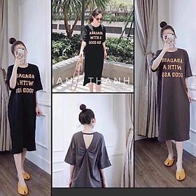 Đầm suông nữ cotton mịn mát form rộng - Váy xuông nữ xoắn lưng họa tiết chữ - CM Shop