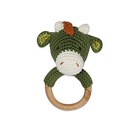 Thú bông bằng len Lục lạc gỗ khủng long Benzamin xanh - sản xuất thủ công handmade in Việt Nam - chất liệu 100% cotton, phù hợp mọi lứa tuổi