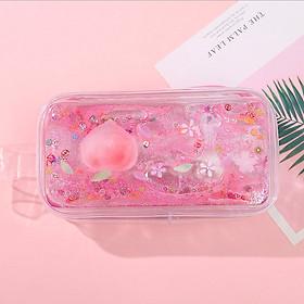 Hộp bút nhựa trong suốt hình quả đào hồng nhũ kim tuyến nước - nhiều mẫu - tặng 1 bút mực đen mẫu ngẫu nhiên