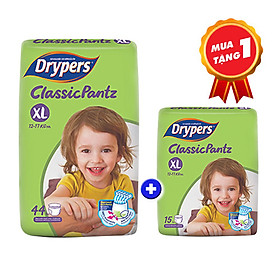Tã quần Drypers Classicpantz XL 44 miếng (12 - 17kg) tặng 1 gói Classicpantz XL15