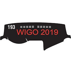 Thảm da Taplo vân Carbon Cao cấp dành cho xe Toyota-Wigo-2019 có khắc chữ Toyota-Wigo và cắt bằng máy lazer