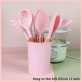 Bộ dụng cụ làm bánh silicone hồng 11 món (Kèm hộp nhựa) chịu nhiệt và không bám mùi cao cấp Tặng móc treo
