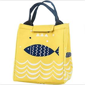 Túi đựng cơm, túi đựng thức ăn vải Offord có lớp giấy bạc giữ nhiệt tốt hình cá vàng