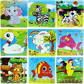 Combo 5 tranh ghép hình 9 miếng cho bé - giao ngẫu nhiên các hình khác nhau