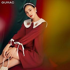 Đầm suông nữ mới đẹp thêu lá cổ thời trang nữ GUMAC DB1156
