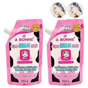 Bộ 2 Túi Muối Tắm Sữa Bò Tẩy Tế Bào Chết A Bonne Spa Milk Salt Thái Lan (350g/Túi) + Tặng Kèm 2 Trùm Đầu Khi Tắm Hoặc Ủ Tóc Trong Suốt
