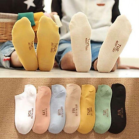 Set 7 đôi tất 7 màu 7 ngày cổ ngắn siêu chất cho bạn gái