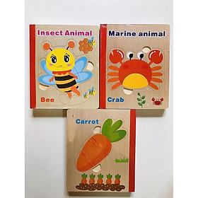 Bộ 3 sách ghép   hình bẳng gỗ nhiều chủ đề