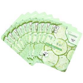 Combo 10 Gói Mặt Nạ Dưỡng Ẩm Và Làm Trắng Da 3W Clinic Fresh Cucumber Jelly Mask Sheet Chiết Xuất Dưa Leo (23ml x 10) - Hàn Quốc Chính Hãng