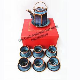 tea set gift 05 - Bộ ấm trà lục giác men xanh hỏa biến đẳng cấp - sản phẩm quà tặng độc đáo dịp tết, năm mới và tân gia