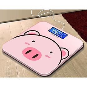 Cân sức khỏe điện tử pin sạc Heo Hồng - Màn LCD - Pin Sạc