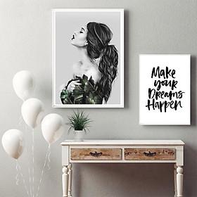 Bộ 2 tranh canvas Chân dung cô gái và giấc mơ