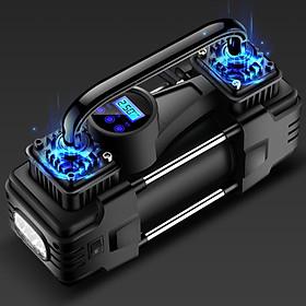 Máy bơm lốp ô tô  2 xi lanh đo hơi và điện áp bằng đồng hồ hiện thị màn hình LED công suất 220W sử dụng nguồn 12V, chiều dài dây nguồn 2,8m