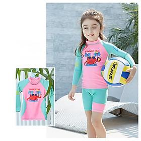 Bộ đồ bơi bé gái chống tia UV lên tới UPF 50++ , form dài tay chất vải co giãn 4 chiều cao cấp , cho bé gái cao 95 cm - 135 cm - Tặng kèm nón bơi vải