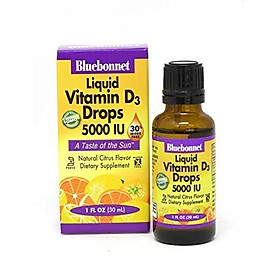 Bluebonnet Nutrition Liquid Vitamin D3 Drops 5000 IU, Aids in Muscle and Skeletal Growth, D3, Non GMO, Gluten Free, Soy Free, Dairy Free, Kosher, 1 fl oz (900 Servings), Citrus Flavor