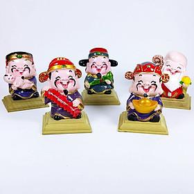 Bộ tượng phong thủy 5 ông Thần Tài + TẶNG FREE bộ 5 đế gỗ