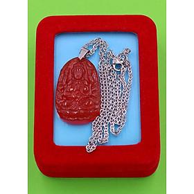 Hình đại diện sản phẩm Vòng cổ phật Thiên Thủ Thiên Nhãn - thạch anh đỏ 3.6cm DITTOB8 - dây inox bạc - kèm hộp nhung - tuổi Tý