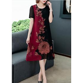 Đầm Suông Dáng Dài 2 Màu Tay Ngắn In Lá Hoa Sen Kiểu Đầm Suông Chữ A Cho Người Mập Từ 50-78Kg Goti 3226D
