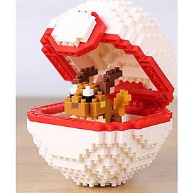 Mô hình lắp ghép Pokemon Lego dạng Pokeball - Tặng kèm móc khóa Pokemon cao cấp