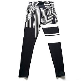 Spot new Ebay Amazon striped digital printing hip high waist fitness yoga leggings women White
