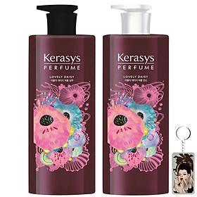 Cặp gội xả nước hoa hương cúc rừng và xạ hương Kerasys Lovely Daisy Hàn Quốc 2x600ml tặng kèm móc khóa