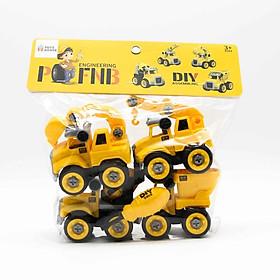 Đồ chơi lắp ghép mô hình oto xây dựng DIY 4 món gồm Cần cẩu, máy múc, xe bồn và xe ben Toys house