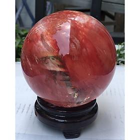 Quả cầu đá obsidian đỏ 1kg - 8~9cm + Đế gỗ