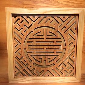 Tấm chống ám khói khung gỗ sồi chữ Thọ - BH70