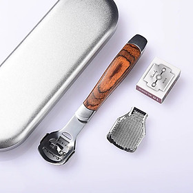 Dụng Cụ Mài, Chà Gót Chân Tẩy Da Chết Inox Cao Cấp kèm 20 dao cạo thay thế - Tặng miếng lót bảo vệ gót chân silicon