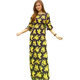 Set áo dài truyền thống nữ họa tiết hoa mai vàng