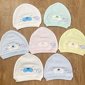 Combo 5 mũ sơ sinh cotton in hình gấu dễ thương cho bé trai, bé gái, chất vải cotton 100% mềm, mịn, thoáng mát và thấm hút mồ hôi