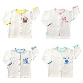 Combo 10 áo sơ sinh trắng cài giữa cho bé sơ sinh Thái Hà Thịnh, chất vải cotton 100% mềm, mịn, thấm hút mồ hôi, đường may đẹp, hàng chính hãng