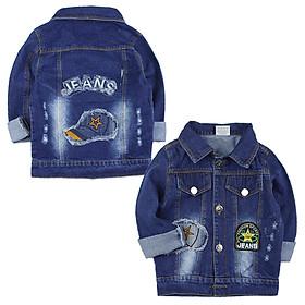 Áo khoác jean tay dài thêu đắp nón và ngôi sao cho bé trai 2-5 tuổi từ 14 đến 22 kg 01947