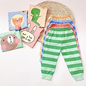 Bộ Cotton 100% (mẫu 5) Minky mom in hình thú quần sọc cho bé trai và bé gái (5-18kg)