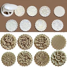 Bộ Khuôn Nén Lò Xo Làm Bánh Trung Thu 8 Mặt 150gr 3D Nổi Đẹp Mắt