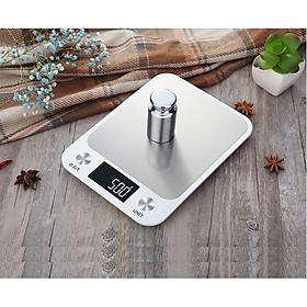 Cân điện tử siêu mỏng để bàn- Cân thực phẩm nhà bếp tải trọng 10kg/1g (Tặng 2 móc treo đồ dán tường ngẫu nhiên)