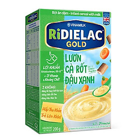 COMBO 2 Hộp BỘT ĂN DẶM RIDIELAC  GOLD LƯƠN CÀ RỐT ĐẬU XANH -  HỘP GIẤY 200G