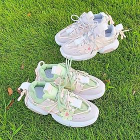 Giày Thể thao nữ Sneaker nữ Hoa anh đào, mẫu mới nhất Hot trend, đế độn 5 phân siêu êm chân, nhẹ nhàng
