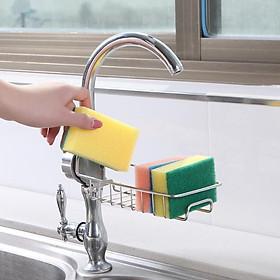 Giá inox gắn vòi để búi rửa chén, xà phòng nhà bếp gọn gàng sạch sẽ