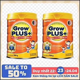 Bộ 2 Lon Sữa bột NutiFood Grow Plus+ cho trẻ chậm tăng cân 900g