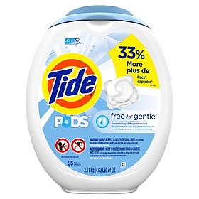 Viên giặt Tide Pods Liquid Laundry Detergent, Free & Gentle, 96 Viên (Bình) - Nhập khẩu Mỹ