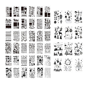 48pcs Children Drawing Stencils PET Material Letter Number Shapes Pattern Chirstmas Painting Spraying Template for DIY