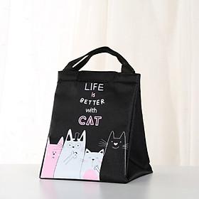 Tụi giữ nhiệt đựng cơm trưa tiện lợi D- túi đựng hộp cơm kiểu Nhật hình Mèo