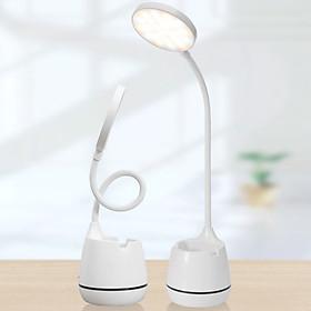 Đèn led để bàn học sạc usb có kệ đựng bút hoặc điện thoại hình tròn - Chính hãng