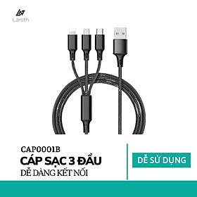 Dây sạc 3 đầu siêu bền, nhiều cổng sạc: USB micro, type C, lightning cho điện thoại Iphone, Samsung – Dây cáp sạc điện thoại đa năng - Hàng nhập khẩu- CAP0001