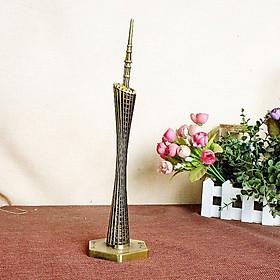 Mô hình tháp Quảng Châu cao 20 cm - Màu vàng rêu
