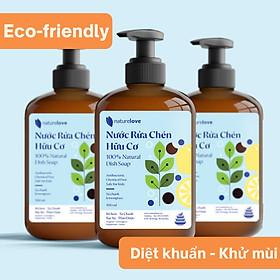 Nước Rửa Chén Hữu Cơ Nature Love - Làm sạch chén bát, đánh tan dầu mỡ - Thành phần thảo mộc giúp mềm dịu da tay - Tạo Bọt tự nhiên - Dễ dàng rửa trôi